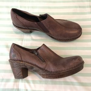 Born Brown Leather Low Ankle Booties Clogs 9.5